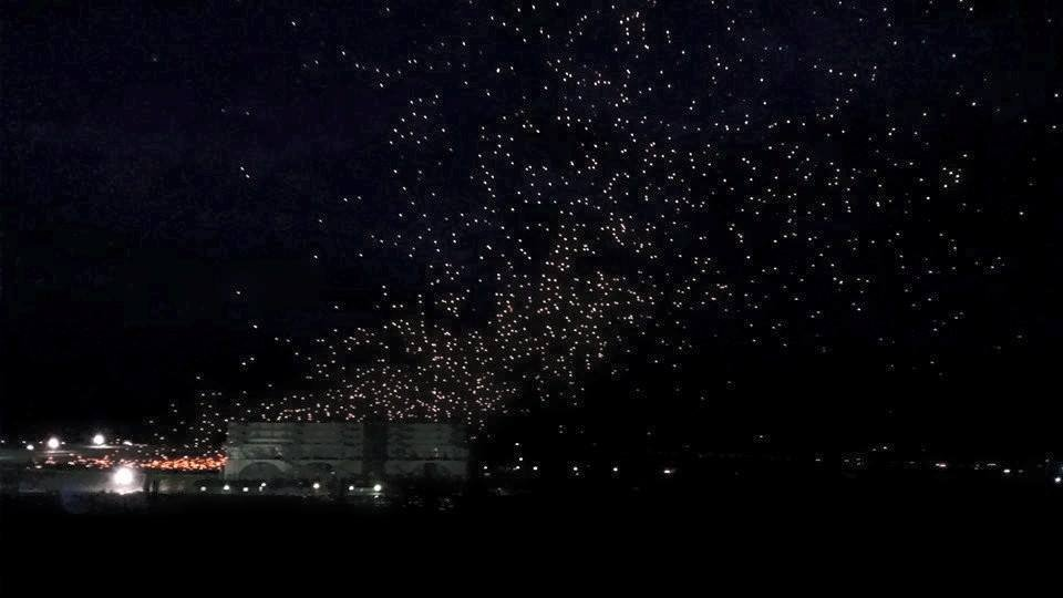 News5 viewer Kate Lewis photographs thousands of lanterns floating from Pikes Peak International Raceway.