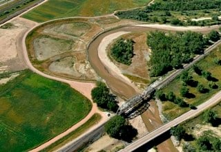 Aerial photo of complete flood control project on Fountain Creek near Midway