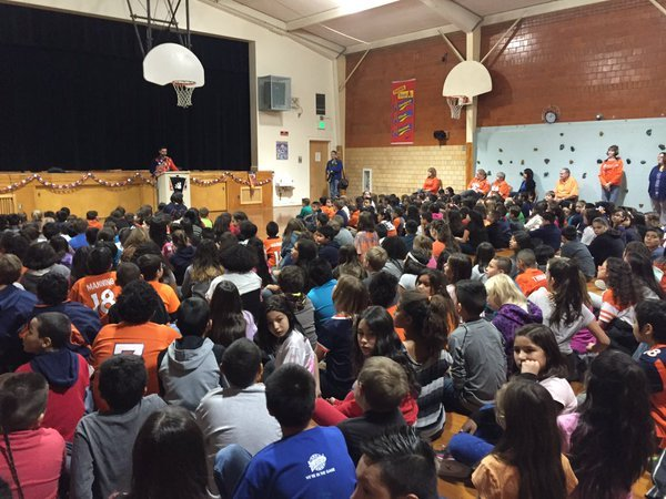 "Students gather for a school-wide assembly at Beulah Heights Elementary School where they were renamed as the ""Beulah Heights Broncos."""