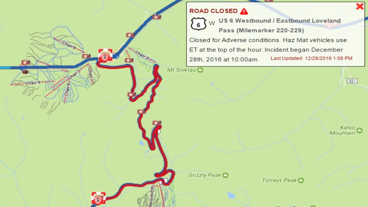 Chain Reaction Crash On I US  Closed For Adverse Conditions - Us weather map driving conditions