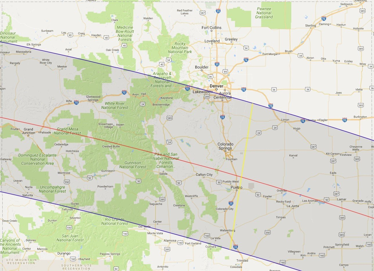 Southern Colorado To Experience Total Eclipse In KOAAcom - Map of southern colorado