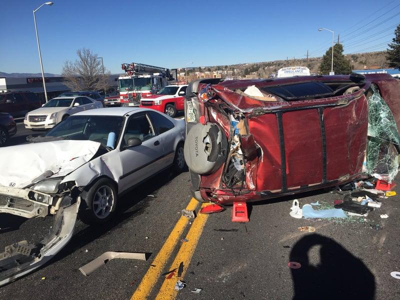 Rollover crash blocks dublin at academy for Courtesy motors colorado springs